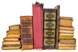 Different old worn books isolated on white