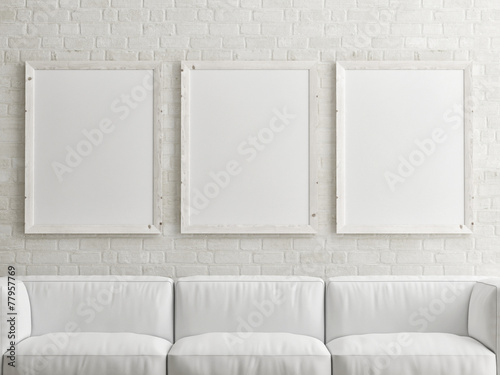 mock up white poster on brick wall - 77957769