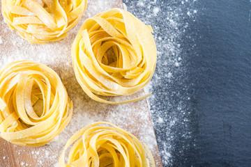 Preparation of italian tagliatelle pasta from above