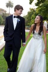 Prom Couple Walking and Having Fun