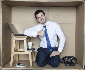 businessman happy with jobs