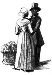 Gentlman in cylinder and lady. Illustration for Dickens novel