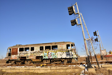 abandoned railroad locomotive in an advanced state of decay