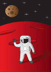 Illustration of cosmonaut on mars.