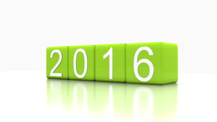 Video 3D animation - dice with new year 2016