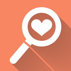 Magnifying Glass Icon and white heart with long shadow.