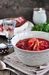 Dinner, Ukrainian soup from vegetables Borsch