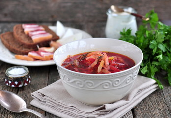 Dinner, Ukrainian soup from vegetables Borsch