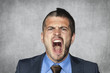 angry businessman screaming, funny haircut