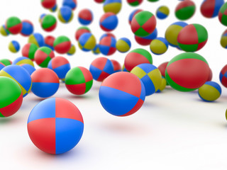Colorful beach balls, 3D