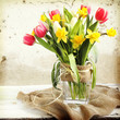 Vase of Tulips and easter eggs