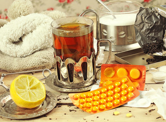 hot tea and medicines in the winter time