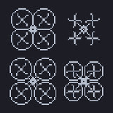 simple set of pixel art style light blue quadcopter shape with poster