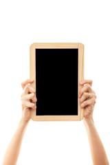 female hands holding blackboard chalkboard