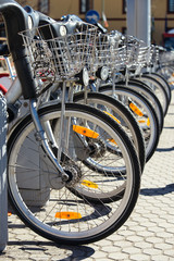 City Hire Bicycles Parked In Row