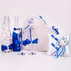 Свадебный синий декоративный набор