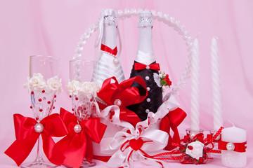Свадебный красный декоративный набор