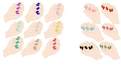Set di mani con unghie colorate