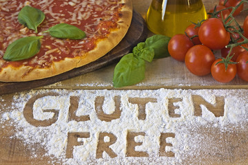 A gluten free pizza on background