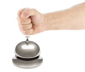 Male Fist Hitting Service Bell