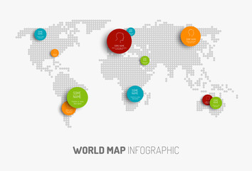 World map with pointer marks