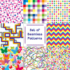 Set of abstract seamless backgrounds with bright pattern