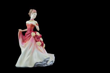 Bone China Figurine Wearing a Red and White Dress