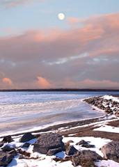 moon and winter shoreline