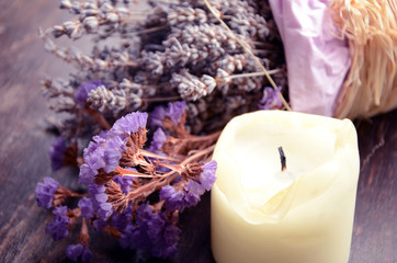 Lavender flower and a candle
