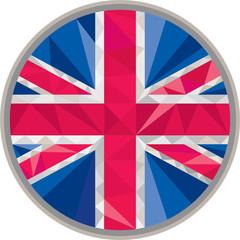 Union Jack UK Flag Circle Low Polygon