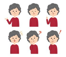 A set of six pose variations of happy old woman