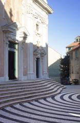Piazza della Concordia and church in Albissola Marina, Liguria