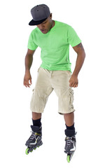 young black adult learning to balance on rollerblade skates