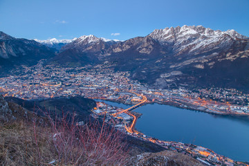 City of Lecco: the blue light just after sunset