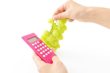 新鮮な果物と計算機