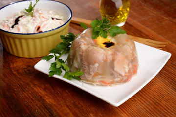 JELLIED MEAT WITH RUSSIAN SALAD