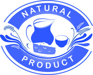 The emblem of the natural product. Dairy farm product logo