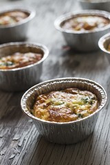 Casserole with Eggs, Spinach and Parmesan freshly baked
