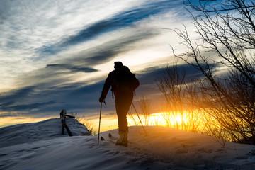 Ski mountaineering silhouette
