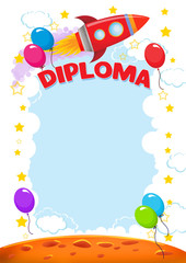 Diploma for children with balloons and racket