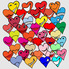 Pattern made from Collection of different heart symbols doodle,