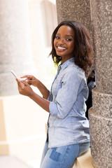 female african uni student using smart phone