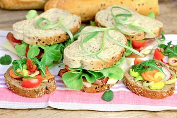 Vegetarian sandwiches and ham sandwiches