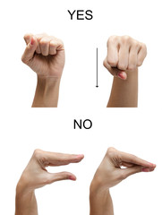 Woman hand sign NO YES ASL american sign language