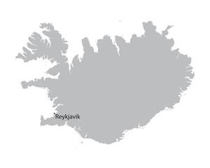 grey map of Iceland with indication of Reykjavik