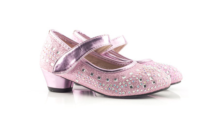 Beautiful and bright  pink girl shoes on white
