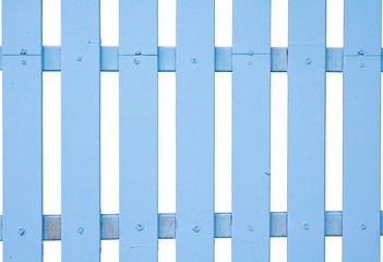 blue fence timber on white background