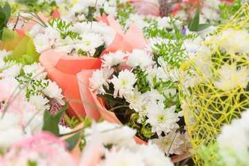 bouquets  in bright packages