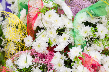 bouquets of white chrysanthemums