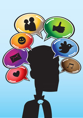 Man silhouette and speech balloons with web icons